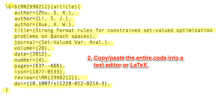 Image of markup code for citation