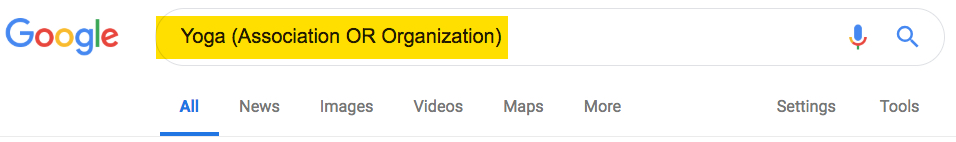 Google search bar showing search strategy for Yoga AND (Association OR Organization)