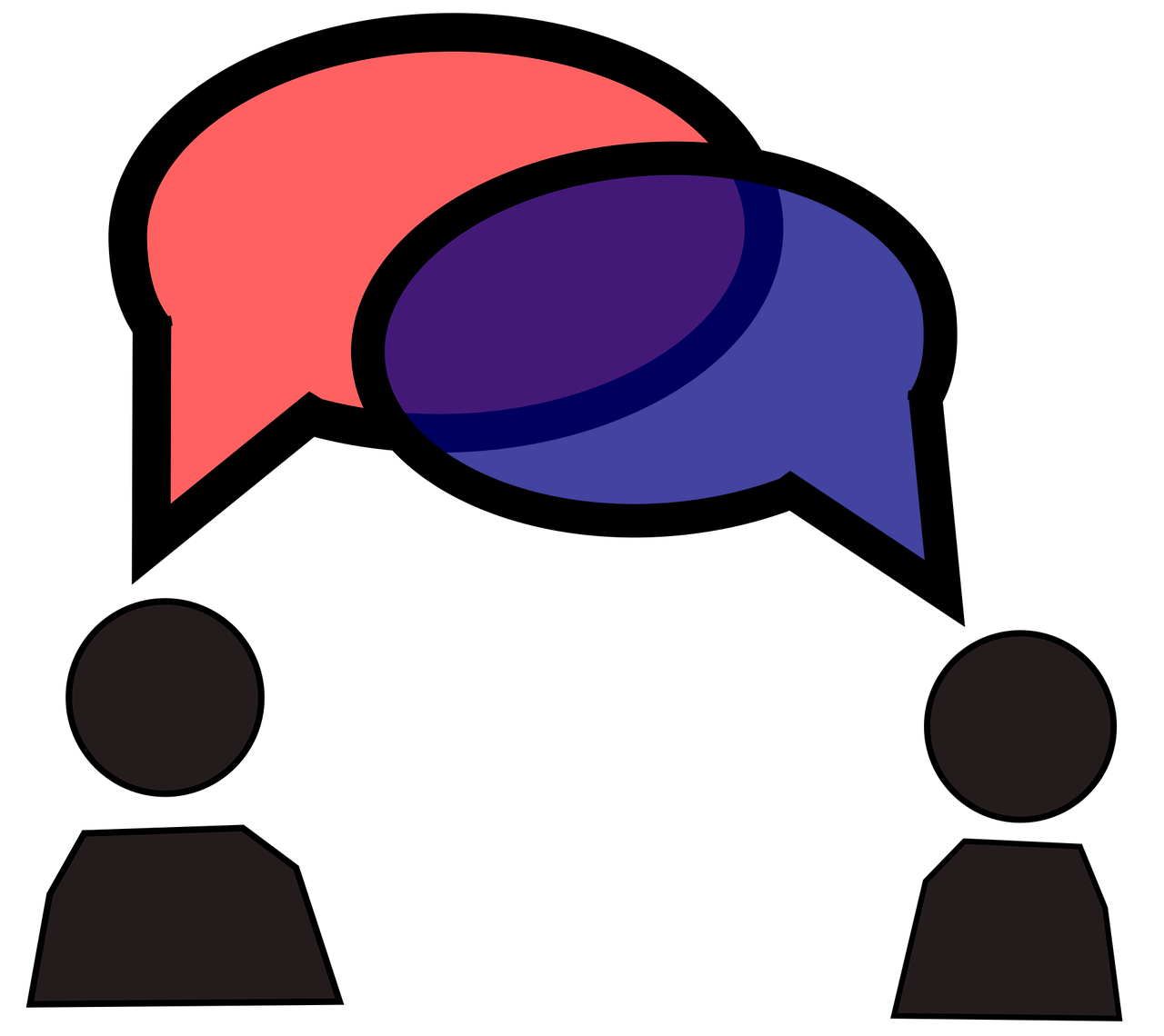 Icon image shown to indicate two speakers are sharing information back and forth