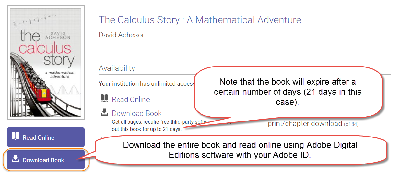 To download the full book, click the Download Book button, which will download a file that can be opened with Adobe Digital Editions software that has been authorized with an Adobe ID. Note that downloaded ebooks using Adobe Digital Editions expire after a certain number of days (usually noted on the ebook download screen).