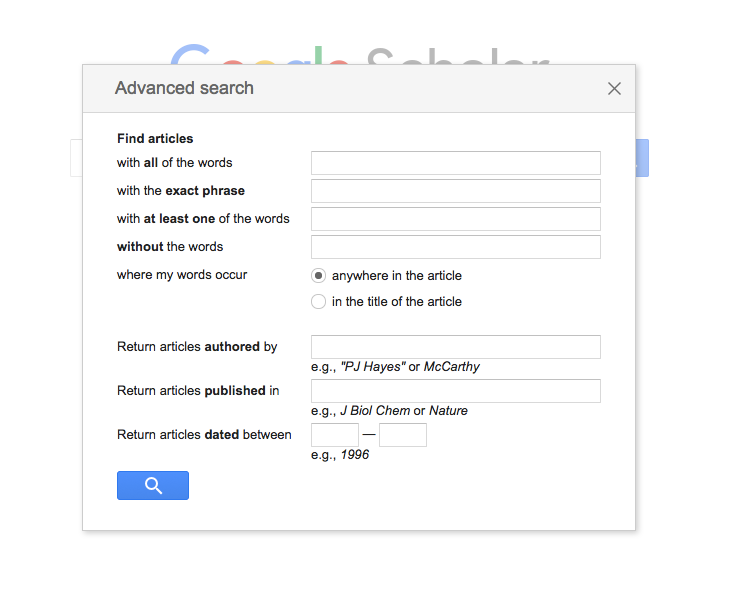 Google Scholar Advanced Search Menu