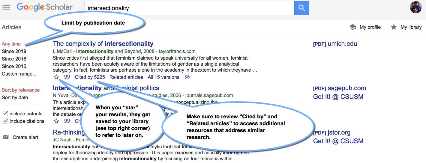 Refining your search in Google Scholar CSUSM