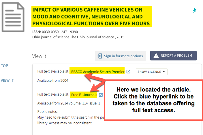 Image shows the results of a search using the citation linker, article title with link to the databases providing access are shown