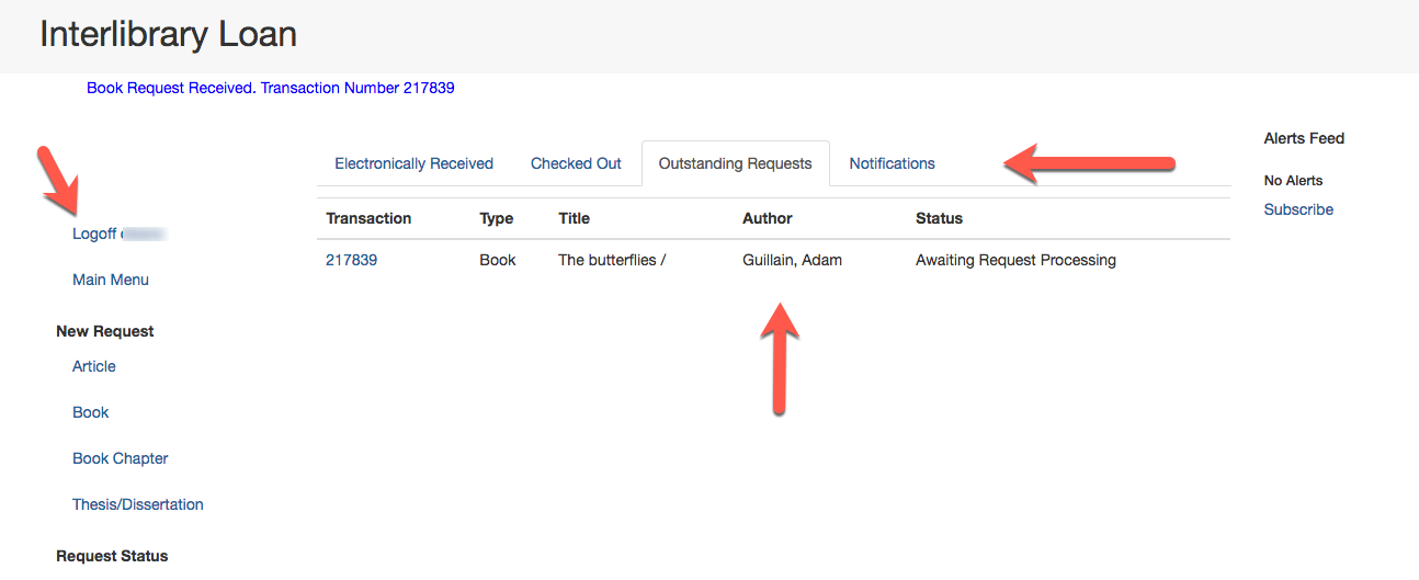 Interlibrary Loan Menu Page with Arrows