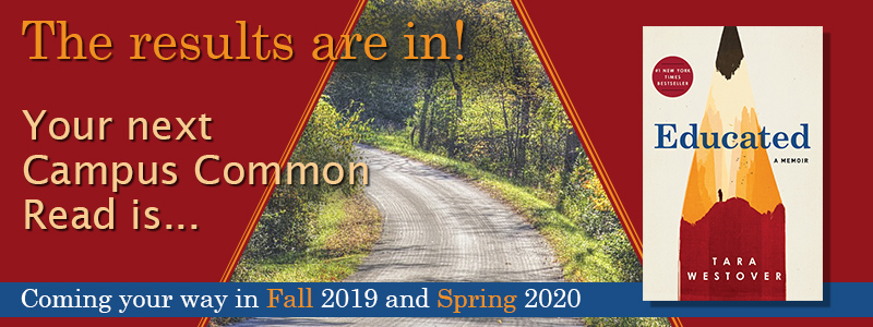 Slideshow image linking to information about Campus Common Read for Fall 2019 and Spring 2020
