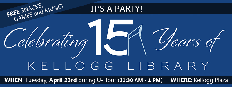 Slideshow image linking to information about Come celebrate 15 years with the Library!