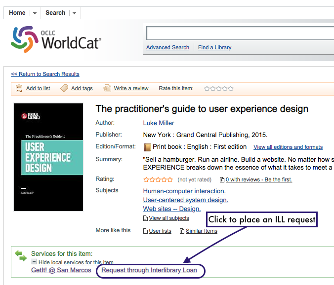 "Screenshot of WorldCat.org web showing embedded ILL request buttons for a book called ""the practitioner's guide to user experience design"""