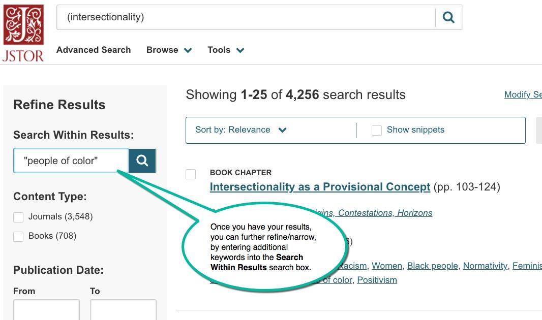 Refine JSTOR searches