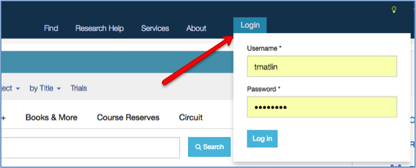 Image of the log in button on the library homepage.