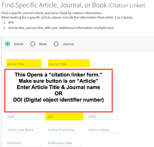 Image shows the citation linker form, highlighted areas to be filled out such as title, journal, or DOI#