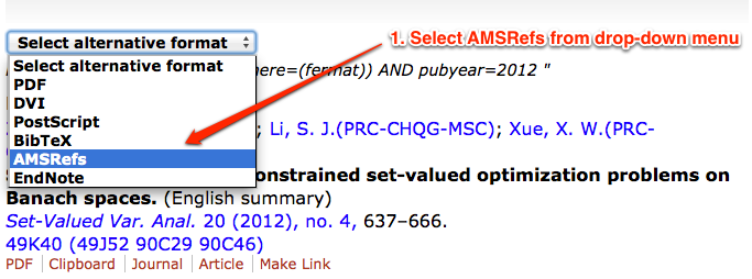Image of AMSRefs drop down menu in MathSciNet