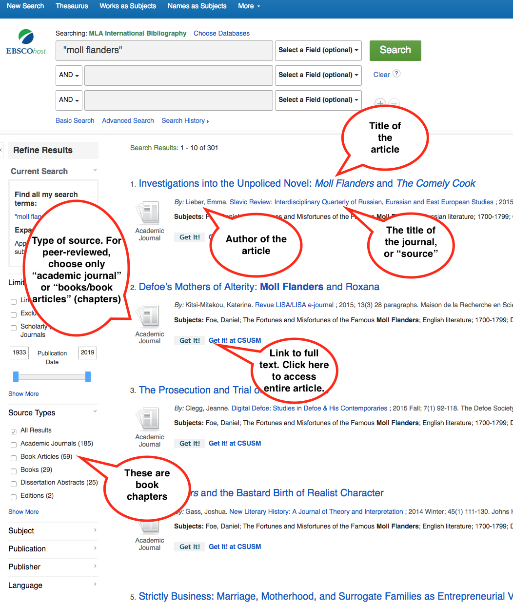 "Annotated screenshot of an MLA International Bibliography search results page for search terms ""moll flanders"""