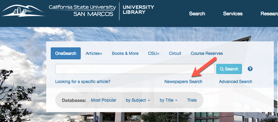 Newspaper Search Main CSUSM Library Page