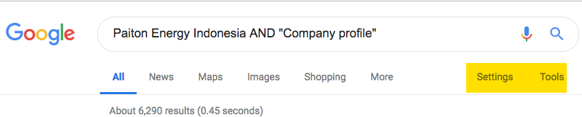 Google search strategy showing Paiton enegy Indonesia AND