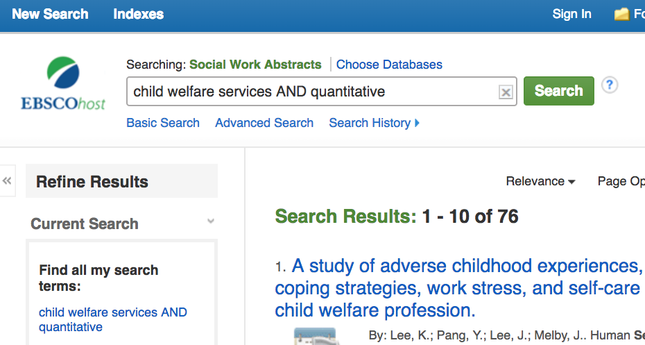 Image of the following search in the Social Work Abstracts database: child welfare services AND quantitative.