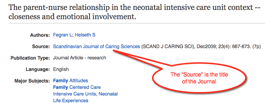 "The ""source"" listed in the database result item metadata is the title of the journal."