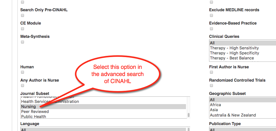 "Image of advanced search options in CINAHL. Narrow in the ""journal subset"" category by ""Nursing."""