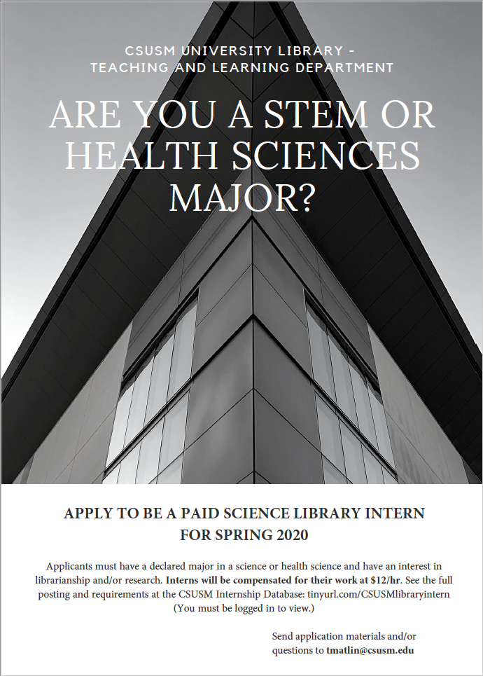 Science Library Internship Flyer