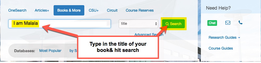 Image shows library search bar with I am Mala as a title search, also shown is where to click search