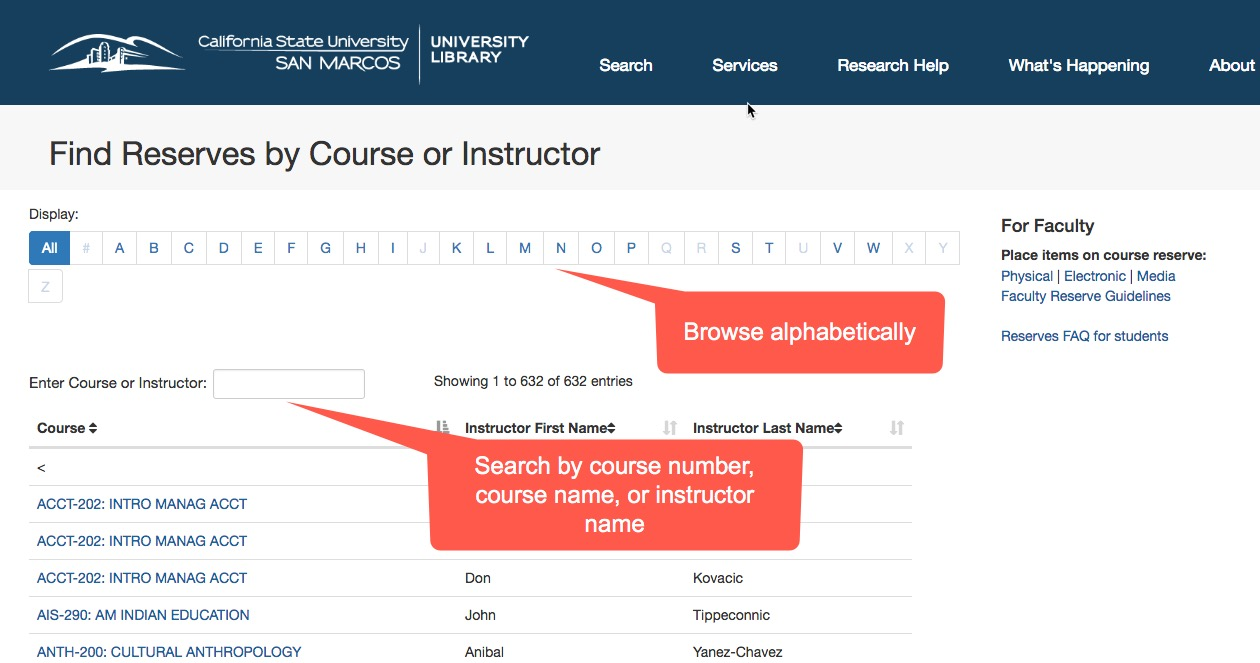 Image of the course reserves screen on the library website with the alphabet highlighted by a callout box for course browsing and the search box highlighted by a callout box.