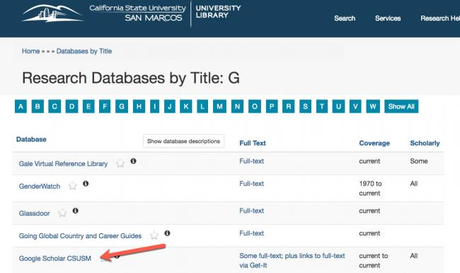 """Image of section """"G"""" in the database list with Google Scholar @ CSUSM pointed at in a red arrow."""