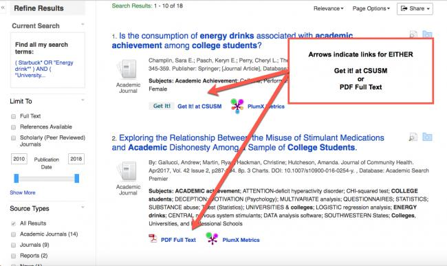 """Image shows EBSCOhost results list with arrows pointing to HTML Full Text, PDF Full text and Get it! at CSUSM and a callout box that reads, """"Arrows indicate links for either Get it at CSUSM or PDF Full Text."""""""