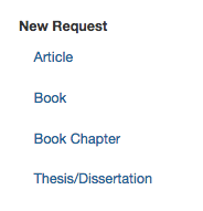 Image displaying new request options, such as Article, Book, Book Chapter, Thesis/Dissertation, in the CSUSM Library interlibrary loan system