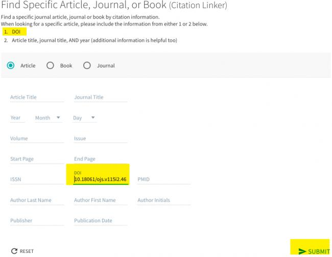Image shows the citation linker form with DOI number filled out and highlighted.