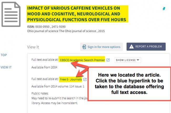 """Image shows the results of a search using the citation linker, article title with link to the databases providing access are shown.  There is a callout box pointing to two databases that contain the article that read, """"Here we located the article. Click the blue hyperlink to be taken to the database offering full text access."""""""