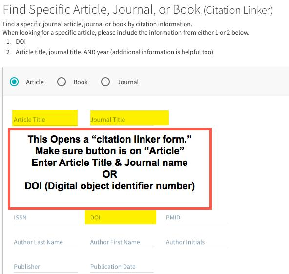 """Image shows the citation linker form, highlighted areas to be filled out such as title, journal, or DOI#.  There is a callout box that reads, """"This Opens a """"citation linker form.""""  Make sure button is on """"Article."""" Enter Article Title & Journal name OR DOI (Digital object identifier number)"""