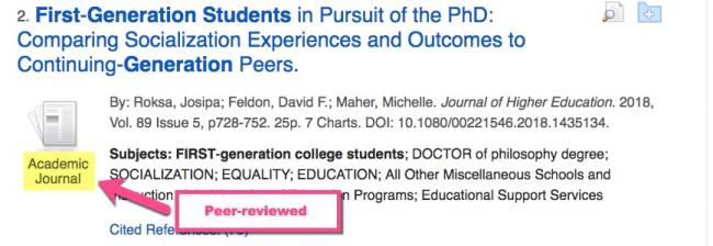 "This image shows a peer reviewed article in the database.  There is a callout box with an arrow pointing to an image of an Academic Journal that reads ""Peer-Reviewed."""