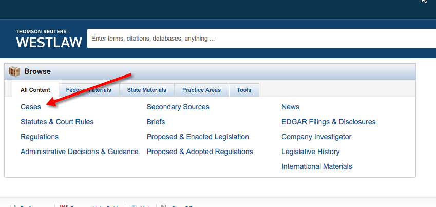 "Main page of Westlaw database with a red arrow pointed at the ""cases"" link."